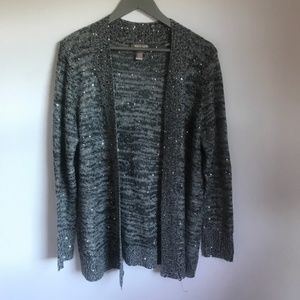 White Stag Black/Gray Sequin Open Front Cardigan L
